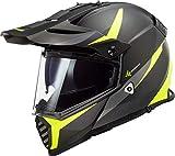 LS2 Pioneer Evo Router - Casco de cross para moto, color negro mate H-V amarillo