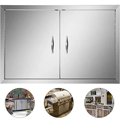 Mophorn 36 Inch Double Stainless Door Flush Mount BBQ Island Door Commercial 304 Brushed Stainless Steel for Outdoor Kitchen (Best Way To Shine Stainless Steel)