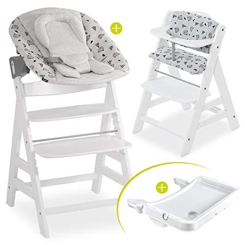 Hauck Baby Hochstuhl Alpha XL Set ab Geburt - mit Neugeborenenaufsatz, Essbrett und Sitzauflage/Mitwachsender Holz Babystuhl mit Liegefunktion - Weiss Grau