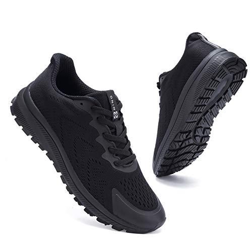 Kyopp Turnschuhe Damen Herren Laufschuhe Sportschuhe Sneaker für Fitness Gym Outdoor Walkingschuhe Freizeitschuhe Atmungsaktiv Leichte(Schwarz 40EU)
