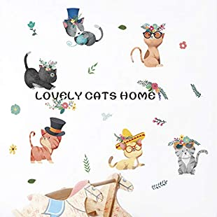 New Personality Creative Color Cartoon Kitten Wall Sticker Decorative Painting Bedroom Cabinet Living Room Decoration Wallpaper Mural (Multicolor)