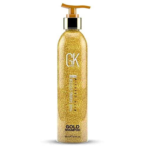 GK HAIR Global Keratin Gold Shampoo (8.5 Fl Oz/250ml) Hair Moisturizing Shine and Protection With Argan Oil, Shea Butter, Natural Oils All Hair Types