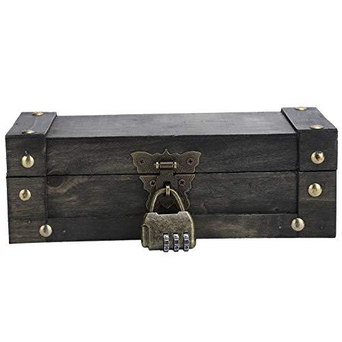 Caja clásica de madera de imitación vintage Caja de estilo antiguo, para guardar joyas, para accesorios de fotografía(6702A-DH Grey Butterfly Buckle, blue)