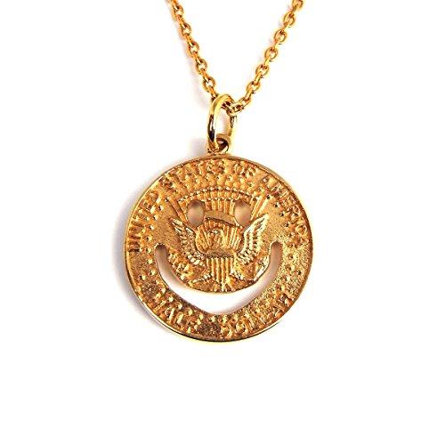 人気 ブランド ゴールド スマイル コイン ネックレス 金 メダル ニコちゃん ペンダントトップ チェーンシルバー925素材