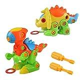 Puzzle 3D Desmontar Dinosaurios Juguetes Puzzle Dinosaurios Ingeniería Construccion de Juguete Tirón Arrastrar para Los Niños de 3+ Años (2 Puzzle Dinosaurios)