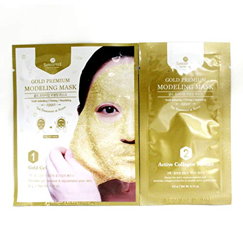 SHANGPREE Prima de la máscara de modelado - Máscara anti envejecimiento con oro y Colágeno - Hidratantes y máscaras de rejuvenecimiento Oro