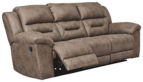 Signature Design by Ashley - Stoneland Faux Leather Reclining Sofa - Pull Tab Reclining, Light Brown