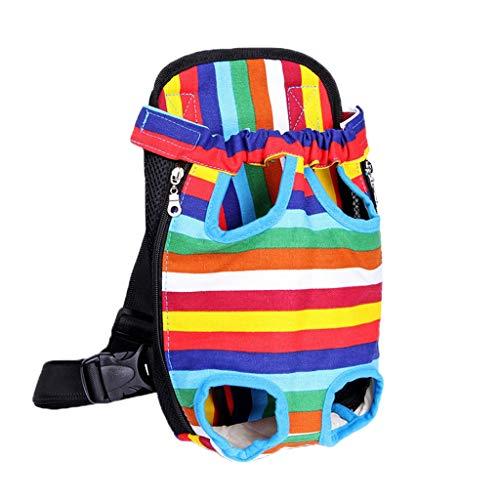WanYanng Rucksack für Haustier,Atmungsaktiv Hunderucksack für Kleine Leichter Wanderrucksack Faltbare Dog Carrier für Spaziergänge, Geeignet für Metro Outdoor 3# Farbstreifen Leinwand 38 * 23 cm