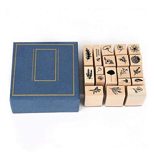 1 juego de sellos de goma de madera natural para manualidades, sello de goma vintage para álbumes de recortes, tarjetas manuales
