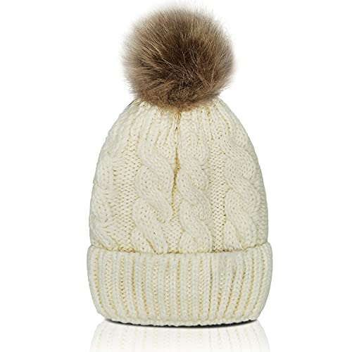 Whiteleopard Kid Beanie Hats Lining Pom Pom for Children -Slouchy Cable Knit...