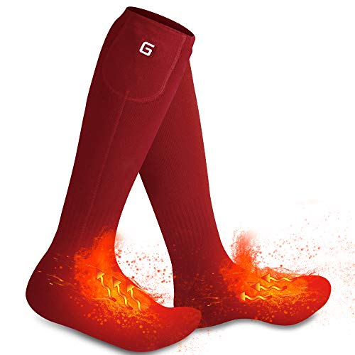Autocastle Rechargeable Electric Heated Socks,Men Women Battery Powered Heated Socks Kit,Winter Warm Thermal Heated Socks for Chronically Cold Feet,Novelty Sports Outdoors Camping Hiking Socks (Red)