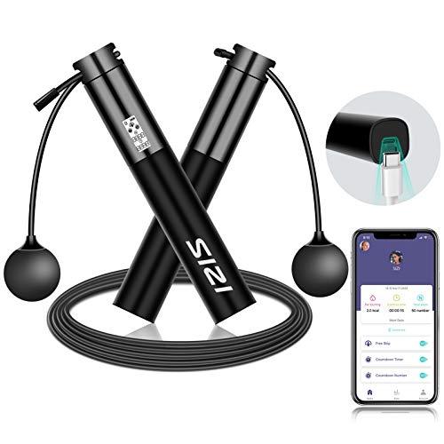 Cuerda para saltar inteligente, FXQ cuerda para saltar ajustable recargable por USB y...