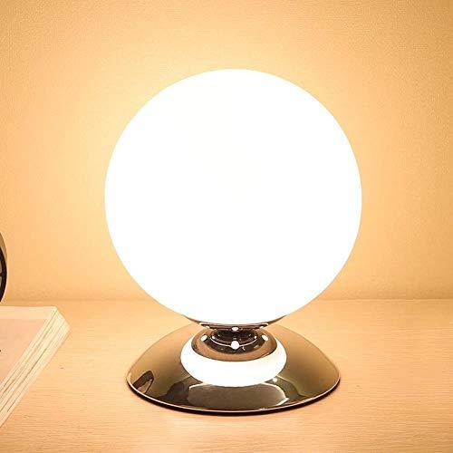 SGWH / moderne, Scandinavische, minimalistische, bolvormige led-bureaulamp, glazen bol led-nachtlampje met glazen bol ontworpen lampenkap, metalen lampenvoet met chroom verf voor slaapkamer, studie, decoratie, cadeau