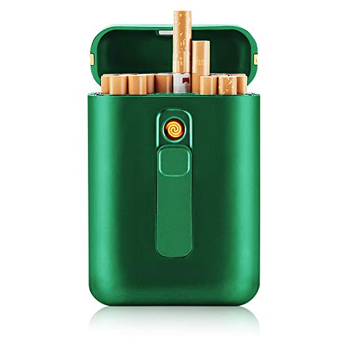 SANSH Zigarettenetui mit Feuerzeug, Zigarettenbox, für 20 Stück normale Zigaretten, tragbar, King-Size-Zigaretten, USB-Feuerzeug, wiederaufladbar, flammenlos, winddicht, elektrisches Feuerzeug, grün