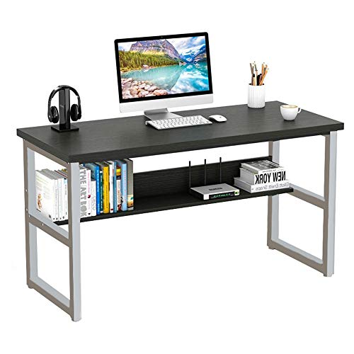 Computer Desk with Bookshelf, 44in Wood Office Writing Desk with Storage Shelves ModernLaptop Table Study Table Workstation for Home Office Furniture US Stock (Black)
