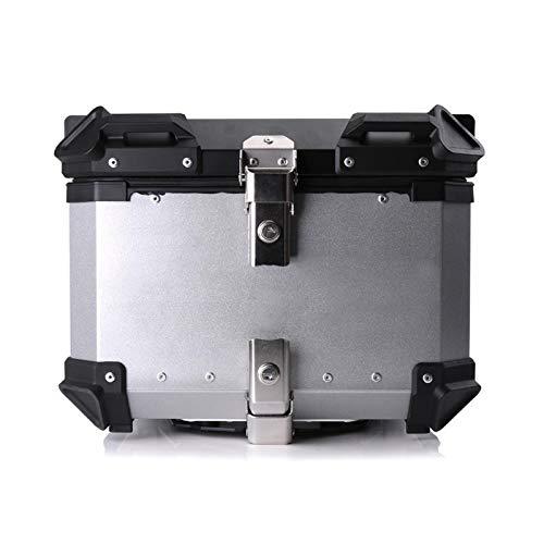 65L 55L 45L Motor DE Aluminio Tipo DE Aluminio Caja de Herramientas de la Caja del Casco del Maletero Caja de Herramientas del Tronco Impermeable (Color : 55L Silver)