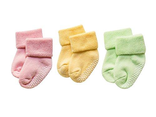 DEBAIJIA 3 Pares De Bebé Calcetines de Algodón Antideslizante Grueso Recién Nacidos 0-12 Meses para Niños Niñas 3 Colores Verde/Amarillo/Rosa
