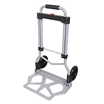 Folding Hand Truck Dolly 100Kg/220 lbs Heavy Duty 2-Wheel Aluminum Cart Compact and Lightweight for Luggage Moving and Office Use
