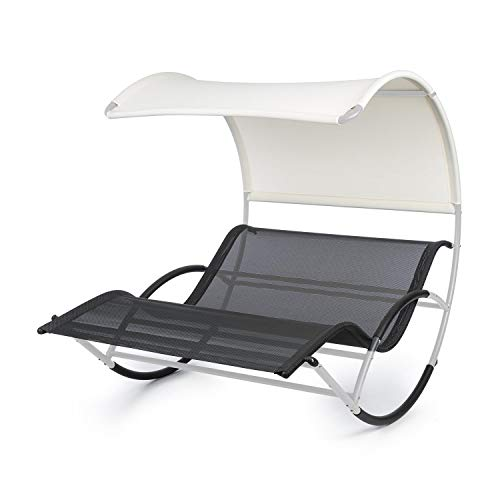 blumfeldt The Big Easy Summer Edition - Swing Lounger, Garden Lounger, Rocking Lounger, Ergonomic, Weatherproof, Waterproof Roof, UV Protection, Steel, Indoor/Outdoor Use, Max. 350kg, Silver