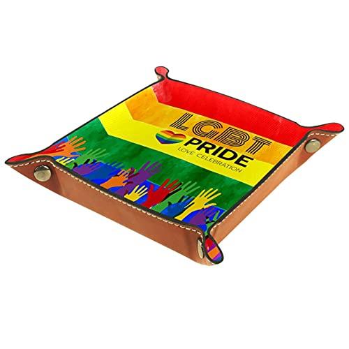 Bandeja de Valet de Cuero, Bandeja de Dados, Soporte Cuadrado Plegable, Placa organizadora de tocador para Cambiar la Llave de la Moneda, Orgullo Gay arcoíris