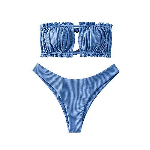 ZAFUL Women Strapless Ribbed High Cut Bandeau Bikini Set (L, Silk Blue-Cutout)