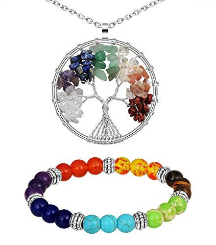 MicVivien Natural Raíz Siete Chakra Pulsera + Collar Mujer árbol de la Vida Colgante Collar de Cobre Chakra Piedra Preciosa Collar de Amatista Colgante Collar para Unisex Hombre Mujer