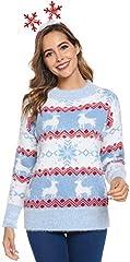 Hawiton Jersey de Mujer Navidad, Manga Larga suéter de Punto con Cuello Redondo,Pullover Navidad de Nieve/Ciervo/Estampado de árbol de Navidad, Talla Grande