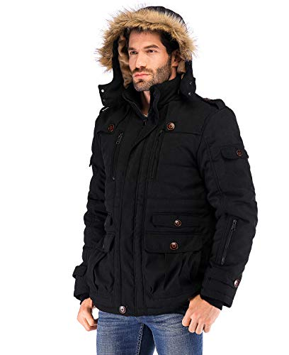 Yozai Men's Winter Jacket Military Warm Fleece Coat with Detachable Hooded Outwear, 334 Black, X Large
