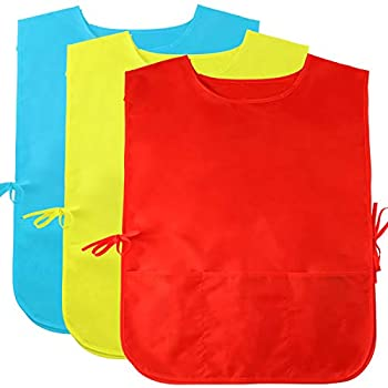 Caydo 3 Pieces Water Resistant Children s Art Smock Middle Size with 3 Roomy Pocket Painting Apron for Kids 6 to 10 Years