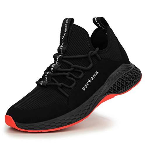 Jianye - Zapatos de seguridad para hombre y mujer, ligeros, s3, transpirables, zapatos de trabajo, para obras, industriales, (I Noir), 40 EU