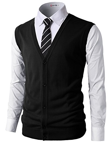 H2H Mens Active Slim Fit Knitted V-Neck Button-Down Vests Black US XL/Asia 2XL (CMOV038)