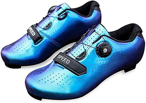 Calzado Para Bicicleta de Carretera Para Hombre - Calzado Para Spinning con Zapato Peloton con Tacos Compatibles con SPD y Delta Para Calzado Para Bicicleta con Pedal de Bloqueo Para Hombre,Blue-45EU