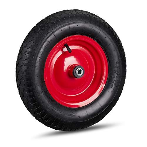 Relaxdays Schubkarrenrad 4.80 4.00-8, luftbereift, Stahlfelge, 3 Adapter, Ersatzrad Schubkarre, bis 120 kg, schwarz-rot