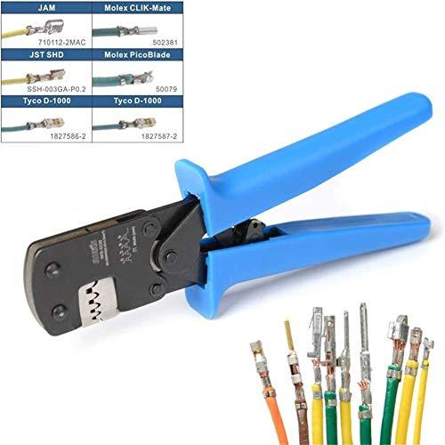 Nologo Profi Crimpzange für Aderendhülse, IWS-3220M, 0,03-0,52 mm² 32-20 AWG DIY Micro Connector Pin Ratschen-Crimper für D-Sub Open Barrel-Anzüge Molex JST JAE TYCO-E
