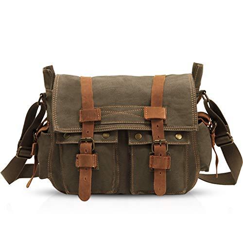 FANDARE Nuevo Bolsa Mensajero Messenger Bag Crossbody Bolso Bandolera Shoulder Bag 14 Pulgadas Portátil Estudiante Viaje Trabajo Escuela Las Mujeres Hombre Bolso Lona Verde Ejército
