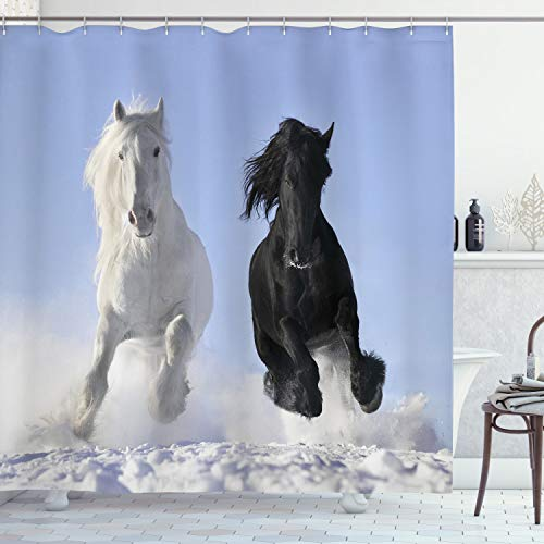 """Ambesonne Horses Shower Curtain, Competing Racing Black and White Horses on Snow and Evil Mythical Symbolic Creatures, Cloth Fabric Bathroom Decor Set with Hooks, 70"""" Long, Blue"""