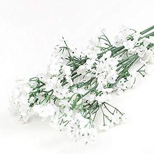 Silk Flower Arrangements Msugar White Babies Breath Artificial Flowers Plastic Gypsophila DIY Floral Bouquets Arrangement for Wedding Home Decor