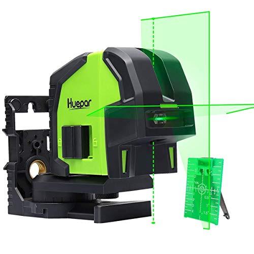 Huepar 8211G Kreuzlinienlaser Grün mit 2 Laserpunkte, Linien Laser Selbstnivellierenden mit Pulsfunktion und Lotfunktion, Umschaltbar Punkt- und Kreuzlinien-Laser, 25m Arbeitsbereich, inkl. Halterung