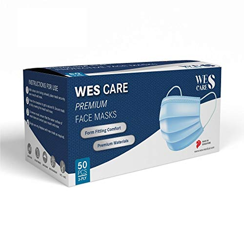 [50 Pcs] Wes Care 3Ply Premium Face Mask | Made in Singapore | UV Clean, Soft & Comfortable, Easy to Breathe | Ships from USA