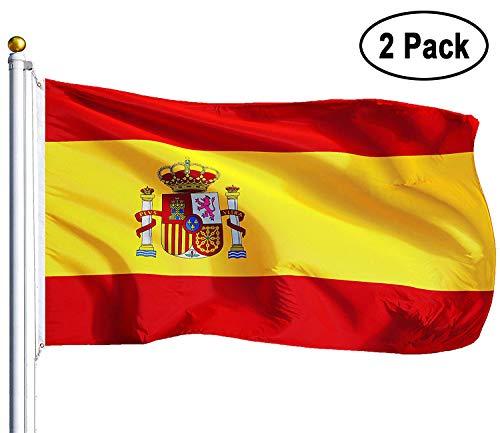 Amison Bandera España Grande, 2pcs Bandera de España, Resistente a la Intemperie, 90 x 150 cm