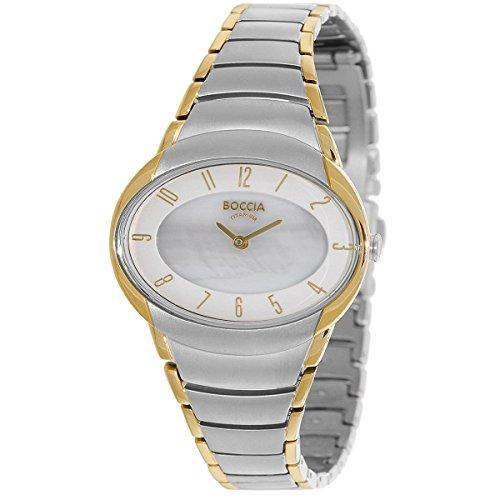 Boccia Damen Analog Quarz Uhr mit Titan Armband 3255-04