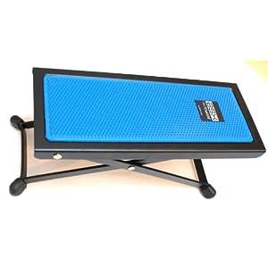 BASIX Gitarren-Fußbank aus Metall mit rutschfester Kunststoffauflage in blau – einfache Höhenverstellung durch Raster (Fußbänkchen)