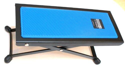 BASIX Gitarren-Fußbank aus Metall mit rutschfester Kunststoffauflage in blau - einfache Höhenverstellung durch Raster (Fußbänkchen)