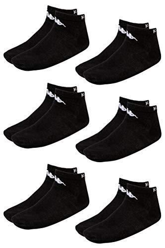 Kappa VAHEL Sneaker-Socken Unisex | leichte, robuste Socken für Damen und Herren | ideal zu Turnschuhen und Sneakers | atmungsaktiv | Baumwoll-Polyamid-Elasthan Mix | 6er Pack, schwarz, Größe 39-42