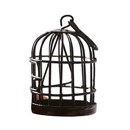 GRASARY Casa de muñecas en miniatura, jaula de pájaros, decoración del hogar, escritorio, juguete infantil, regalo perfecto, casa de muñecas, juguete de regalo, color negro