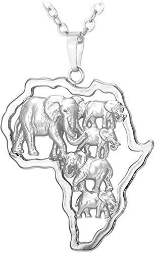 Collar Joyería De Mapa Africano De Color Plateado para Hombres Y Mujeres De La Suerte, Collar con Colgante De Elefante Étnico Africano De 55 Cm