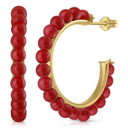 Pendientes oro 18k niña o mujer, aros argolla con perla cultivada de calidad, coral o turquesa. Medida de la joya 19 milímetros y cierre de presión, Elija su diseño preferido. (CORAL)