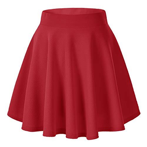 Women's Basic Versatile Stretchy Flared Casual Mini Skater Skirt (X-Large, Red)