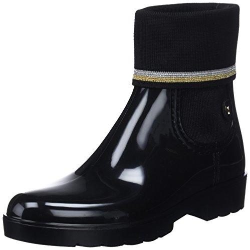 Tommy Hilfiger Damen Knitted Sock RAIN Boot Gummistiefel, Schwarz (Black 990), 40 EU