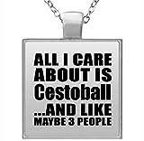 All I Care About Is Cestoball - Square Necklace Collar, Colgante, Bañado en Plata - Regalo para Cumpleaños, Aniversario, Día de Navidad o Día de Acción de Gracias